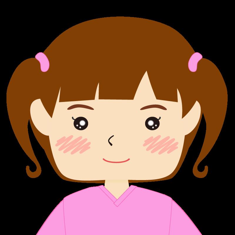 パッツン前髪の女の子 笑顔