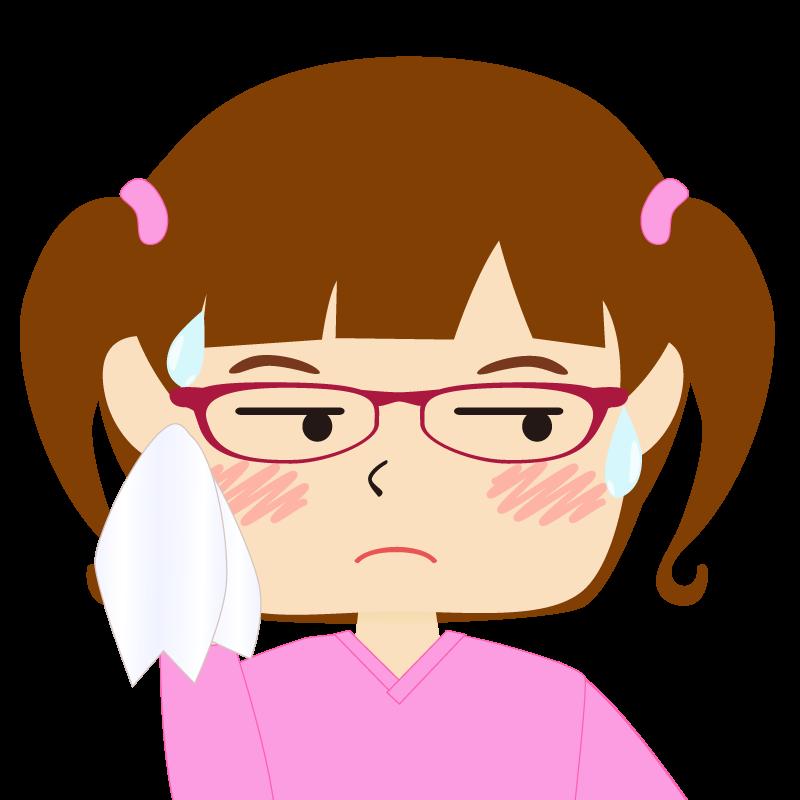 パッツン前髪の女の子 眼鏡 汗