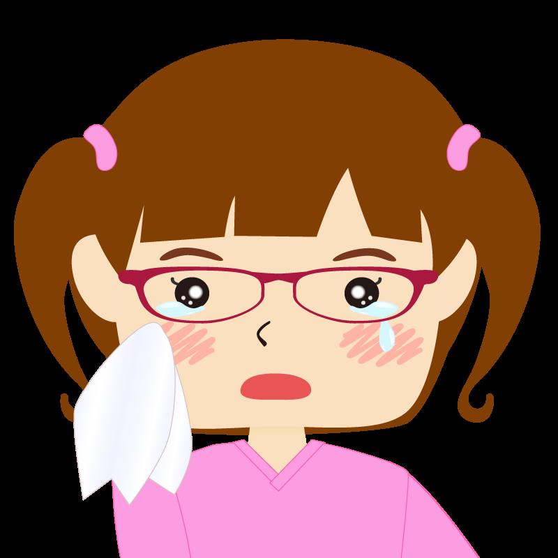 パッツン前髪の女の子 眼鏡 涙