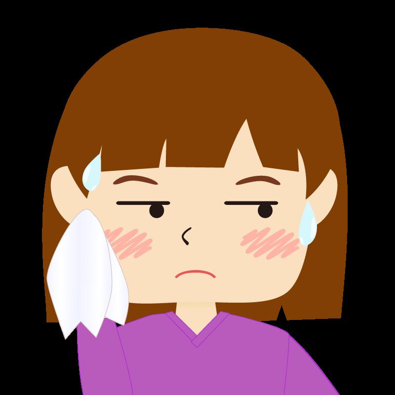 画像:おかっぱパッツン前髪の女の子 汗