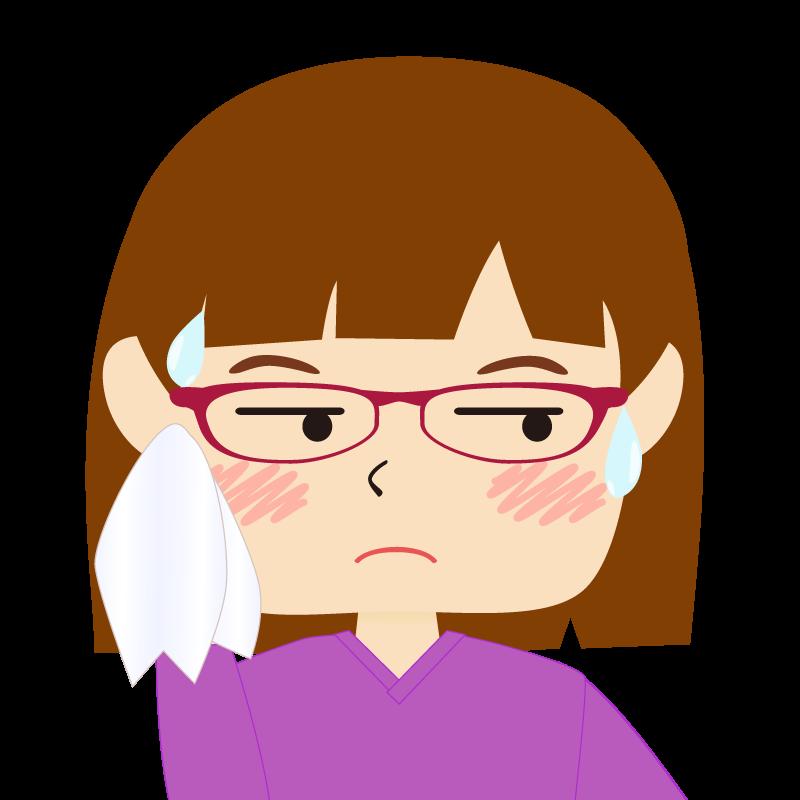 画像:おかっぱパッツン前髪の女の子 眼鏡 汗