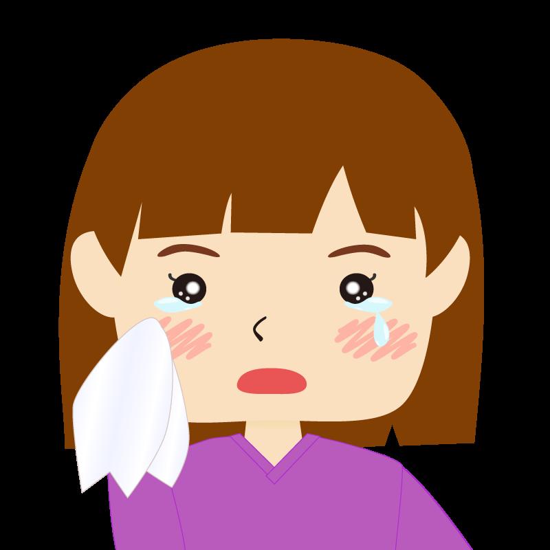 画像:おかっぱパッツン前髪の女の子 涙