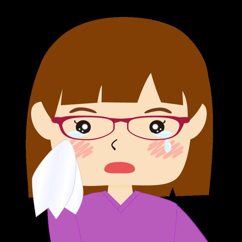 画像:おかっぱパッツン前髪の女の子 眼鏡 涙