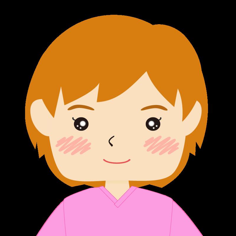 画像:四角い顔のショートカット女性 茶髪 笑顔