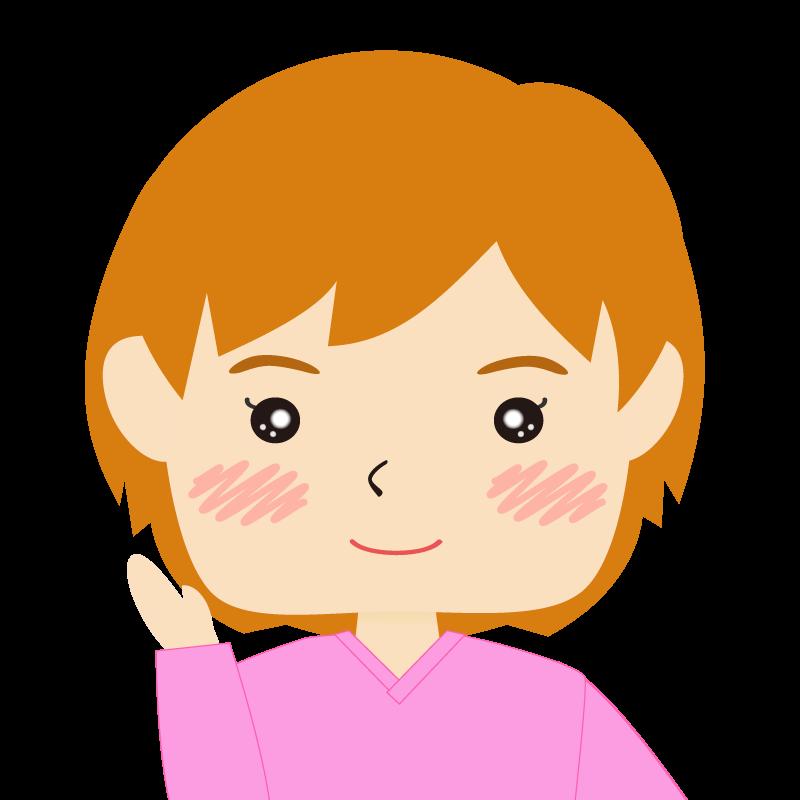 画像:四角い顔のショートカット女性 茶髪 案内