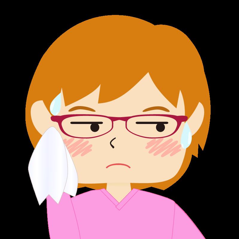 画像:四角い顔のショートカット女性 茶髪 眼鏡 汗