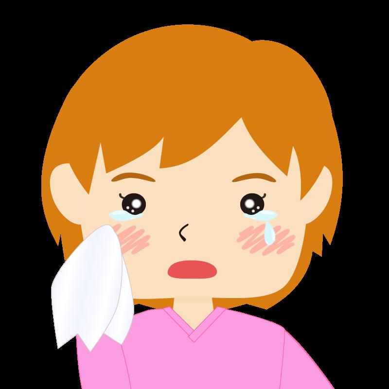 画像:四角い顔のショートカット女性 茶髪 涙