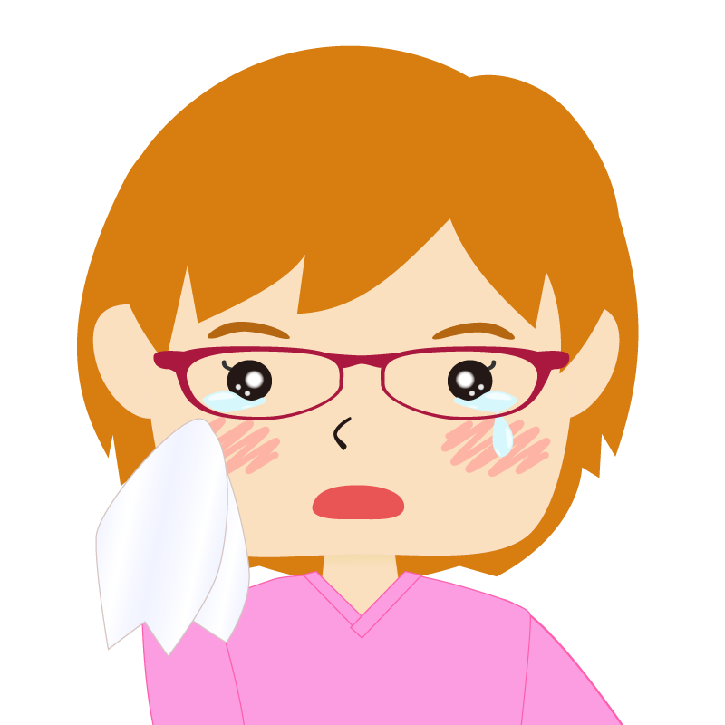 画像:四角い顔のショートカット女性 茶髪 眼鏡 涙