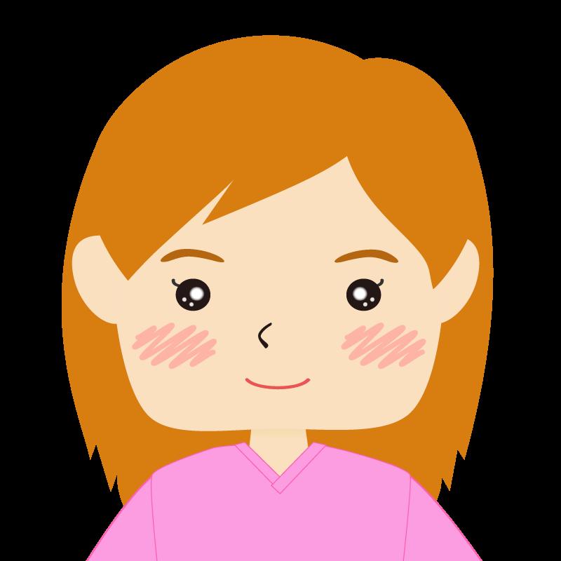 画像:四角い顔の女性 長髪 茶髪 笑顔