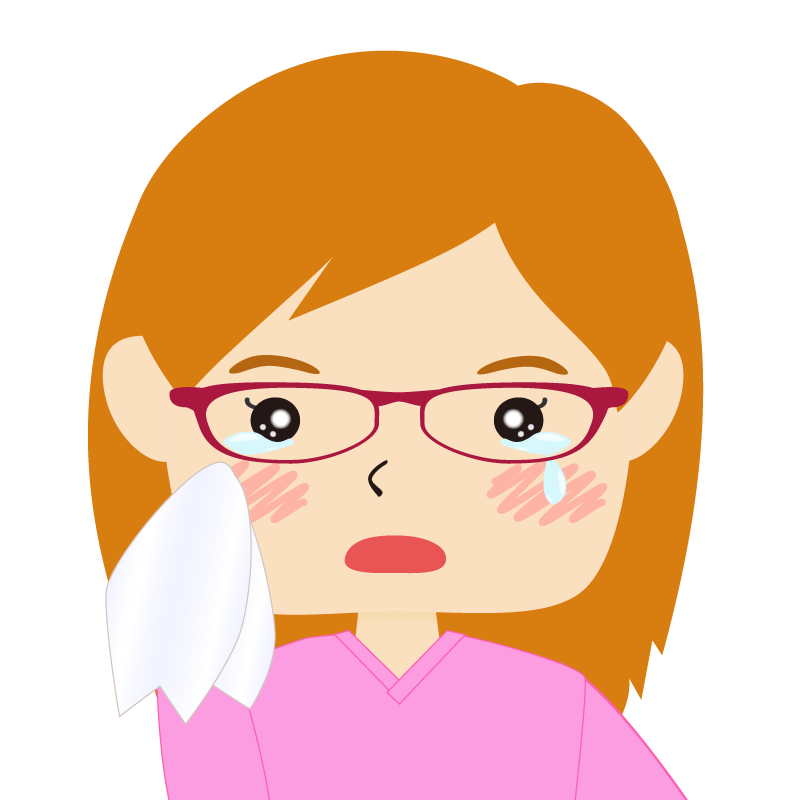 画像:四角い顔の女性 長髪 茶髪 眼鏡 涙