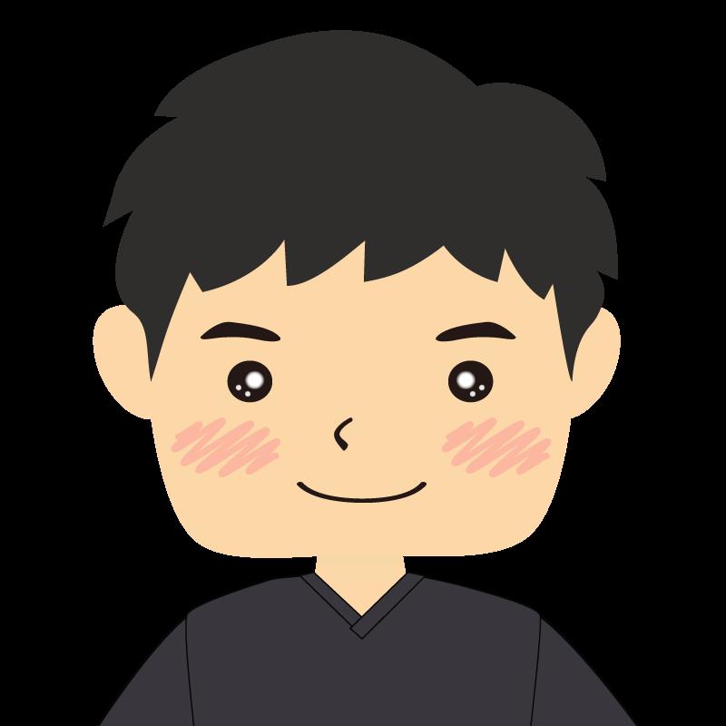 画像:四角い顔の男性 笑顔