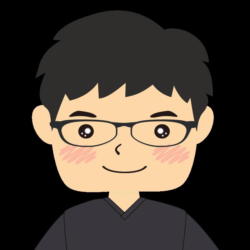 画像:四角い顔の男性 眼鏡 笑顔