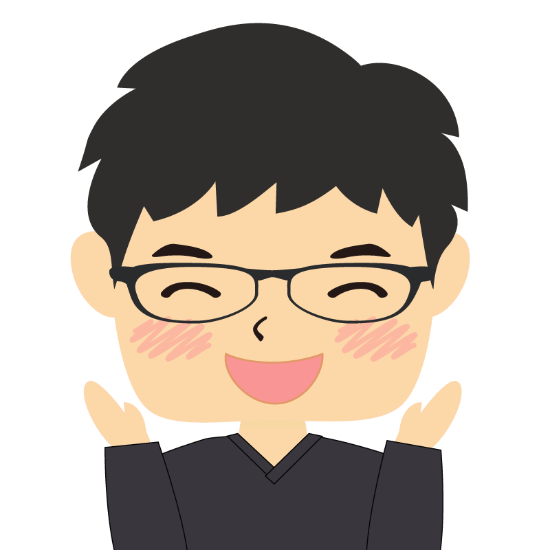 画像:四角い顔の男性 眼鏡 喜び