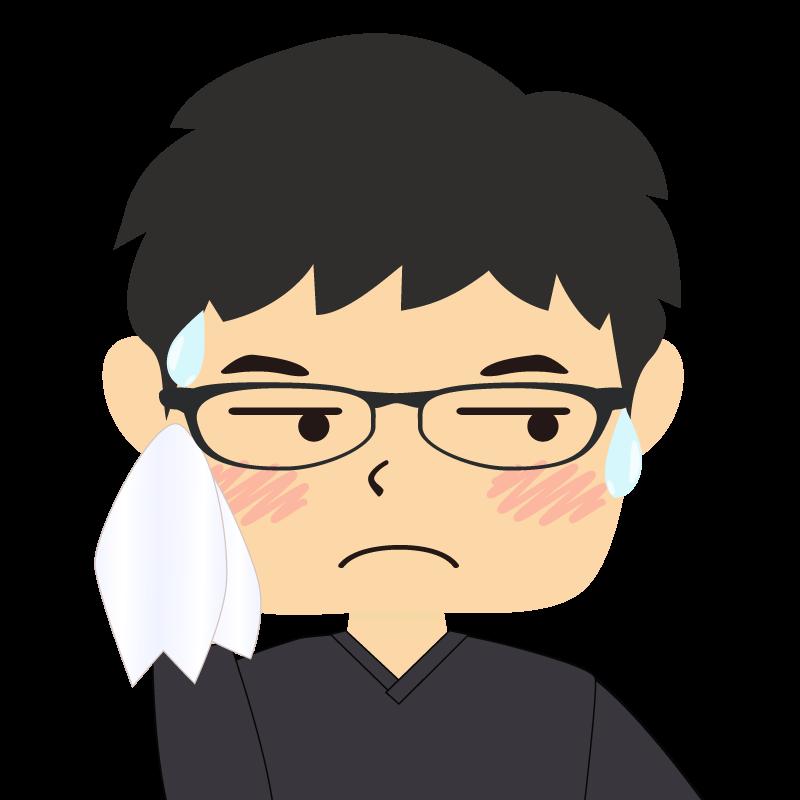 画像:四角い顔の男性 眼鏡 汗