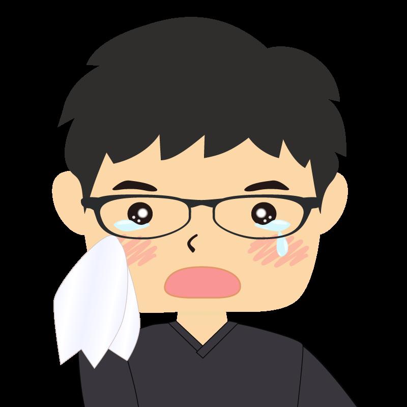 画像:四角い顔の男性 眼鏡 涙