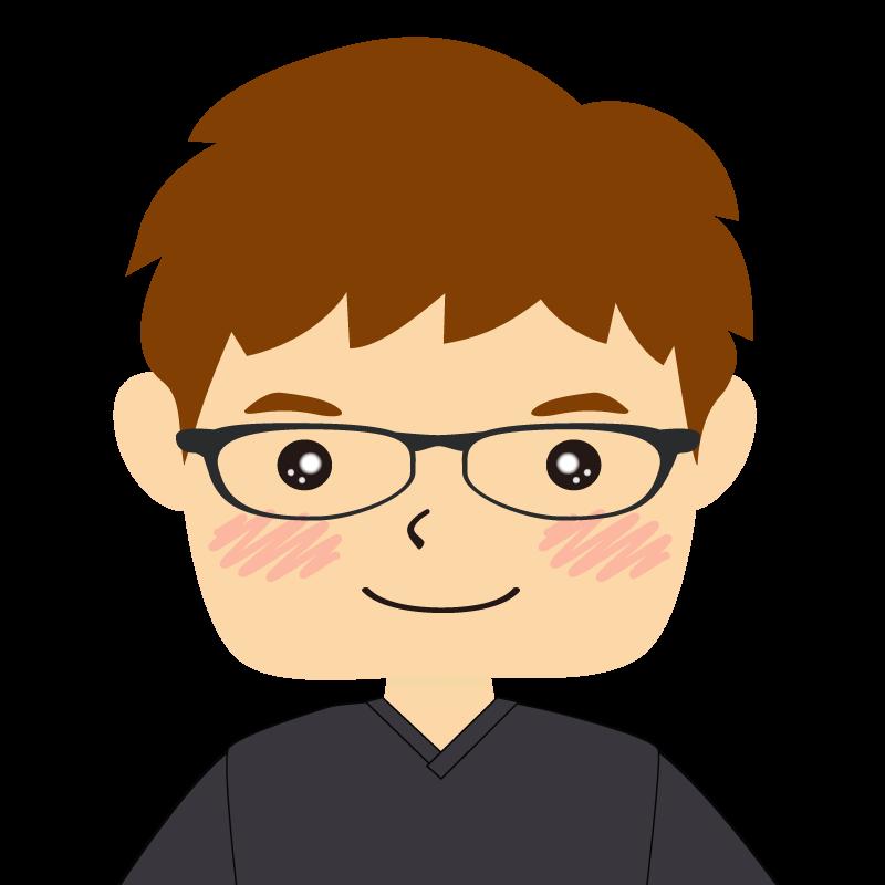 画像:四角い顔の男性 茶髪 眼鏡 笑顔