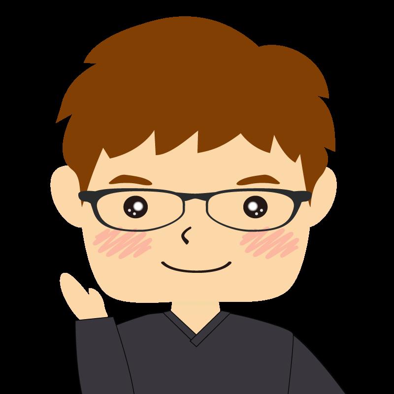 画像:四角い顔の男性 茶髪 眼鏡 案内