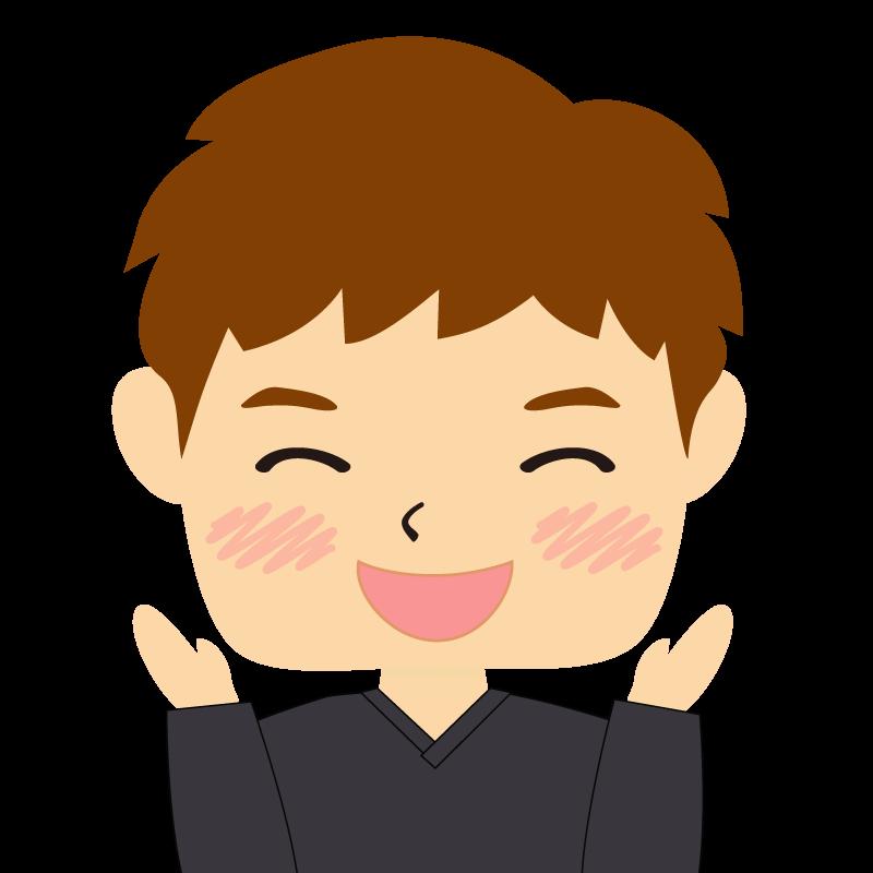画像:四角い顔の男性 茶髪 喜び