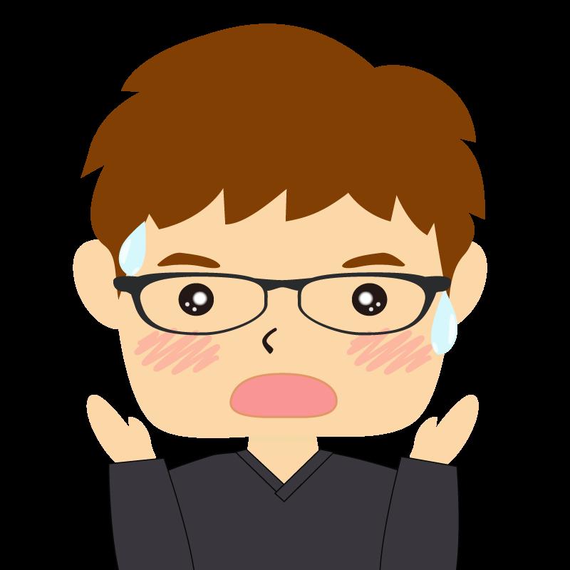 画像:四角い顔の男性 茶髪 眼鏡 驚き