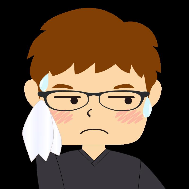 画像:四角い顔の男性 茶髪 眼鏡 汗