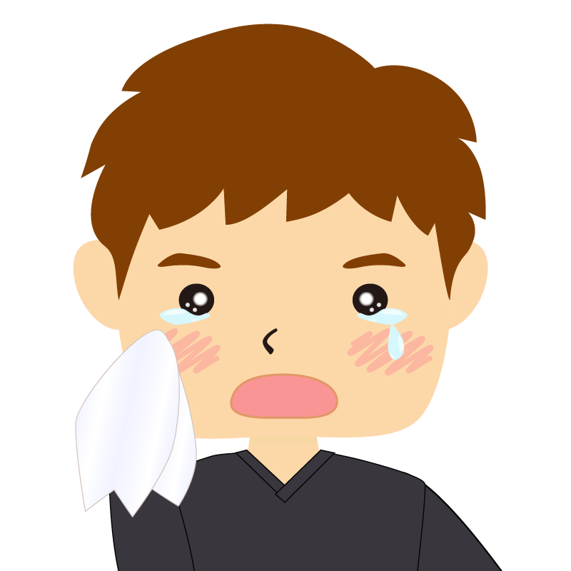 画像:四角い顔の男性 茶髪 涙