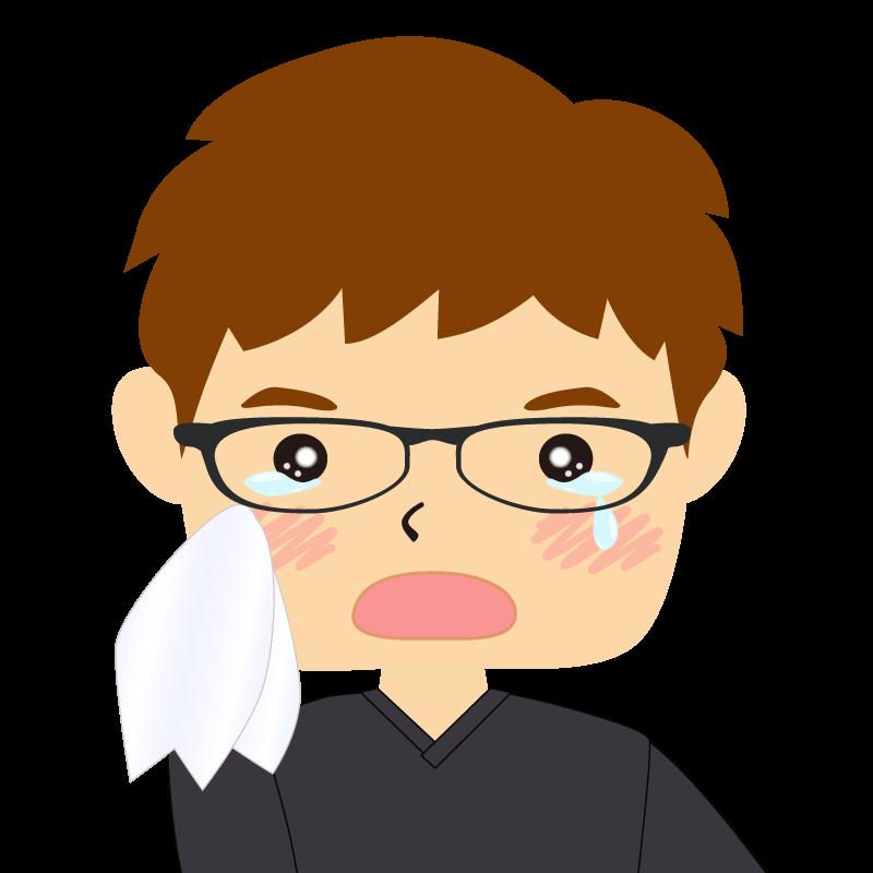画像:四角い顔の男性 茶髪 眼鏡 涙