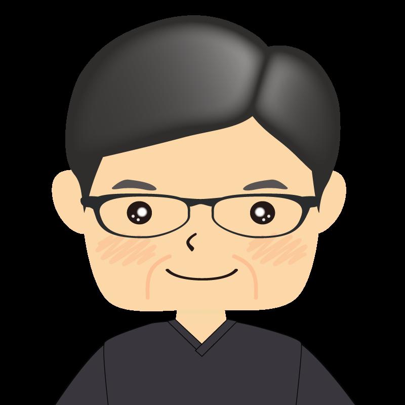 画像:四角い顔の男性 熟年 眼鏡