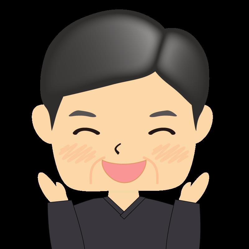 画像:四角い顔の男性 熟年 笑顔