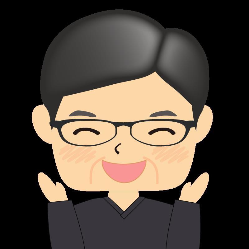 画像:四角い顔の男性 熟年 眼鏡 喜び