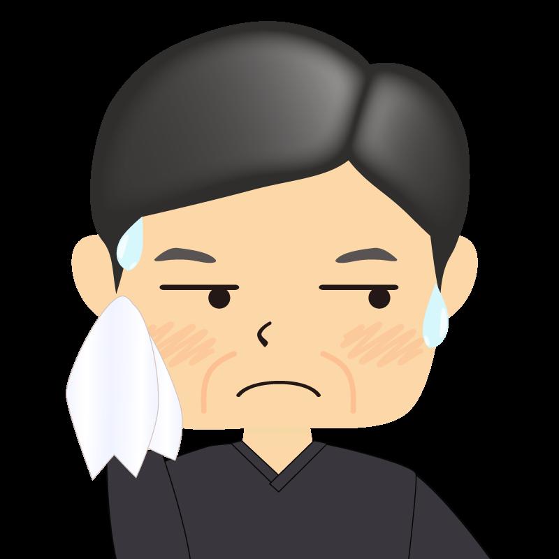 画像:四角い顔の男性 熟年 汗