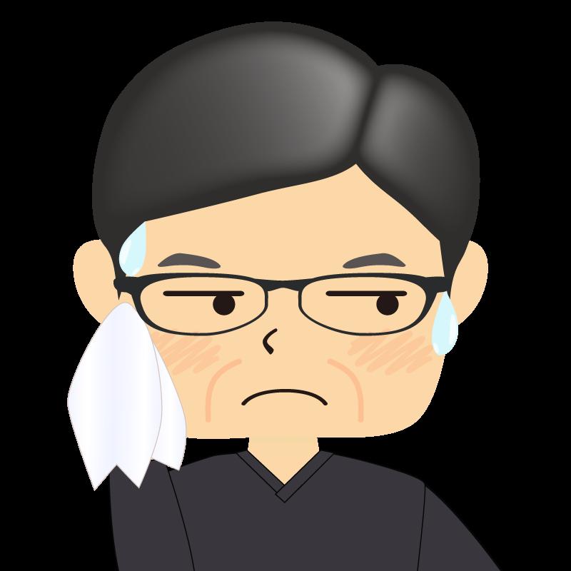 画像:四角い顔の男性 熟年 眼鏡 汗