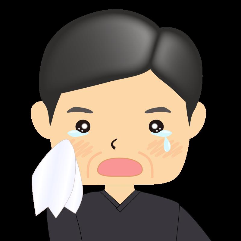 画像:四角い顔の男性 熟年 涙
