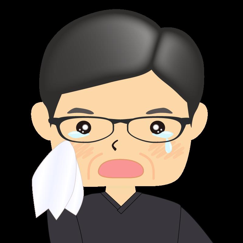 画像:四角い顔の男性 熟年 眼鏡 涙