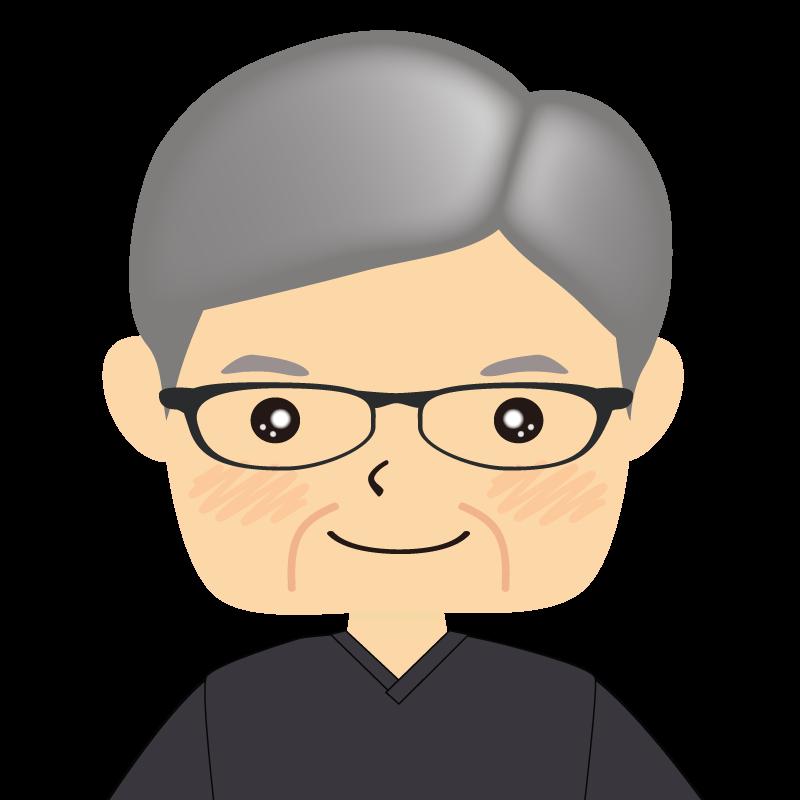画像:四角い顔の男性 高齢 眼鏡