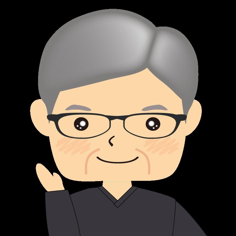 画像:四角い顔の男性 高齢 眼鏡 案内