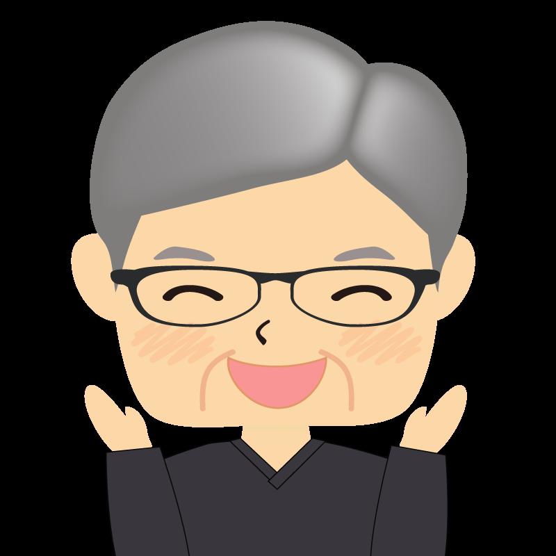 画像:四角い顔の男性 高齢 眼鏡 喜び