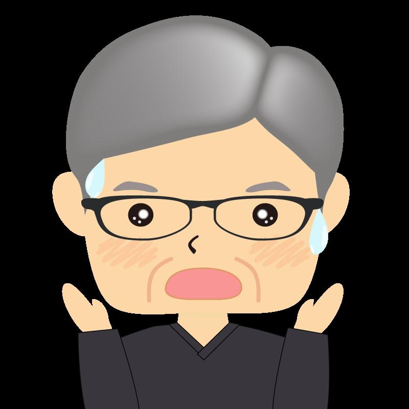 画像:四角い顔の男性 高齢 眼鏡 驚き