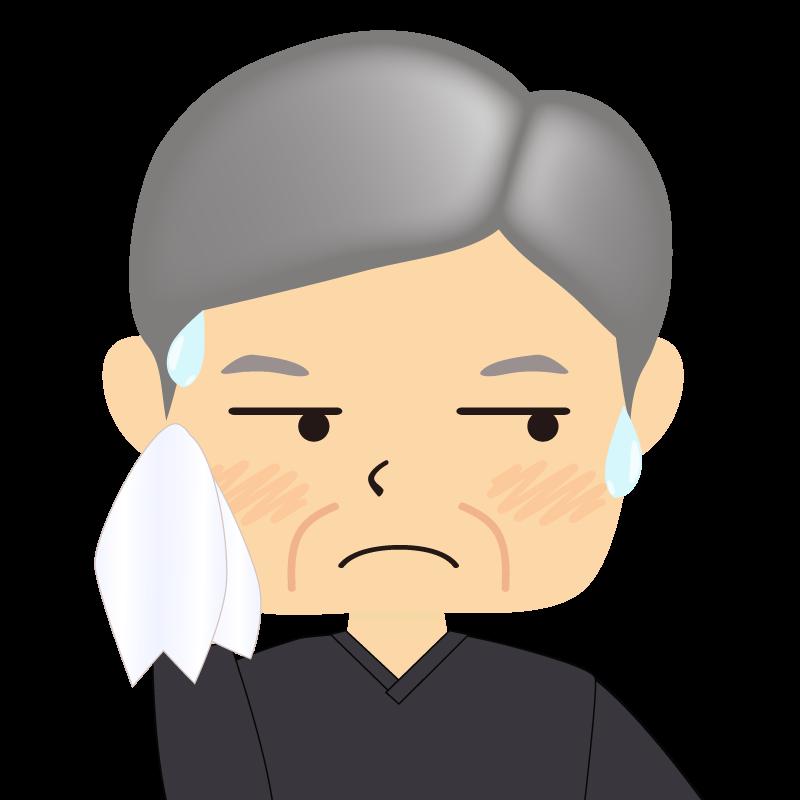 画像:四角い顔の男性 高齢 汗