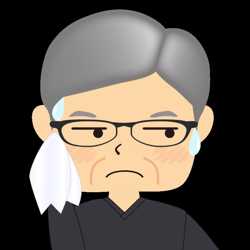画像:四角い顔の男性 高齢 眼鏡 汗