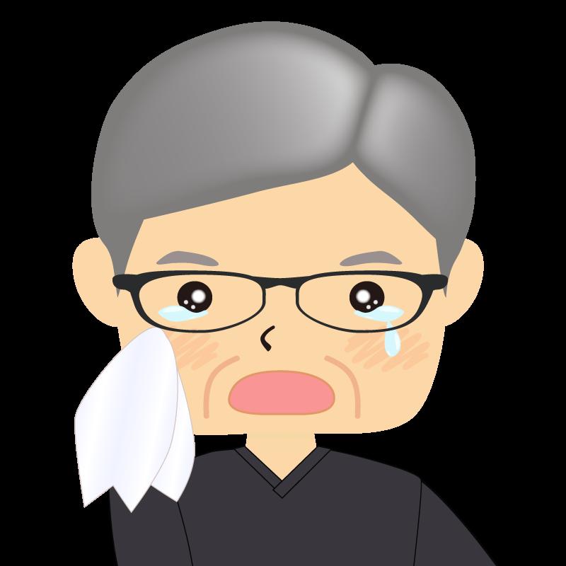 画像:四角い顔の男性 高齢 眼鏡 涙