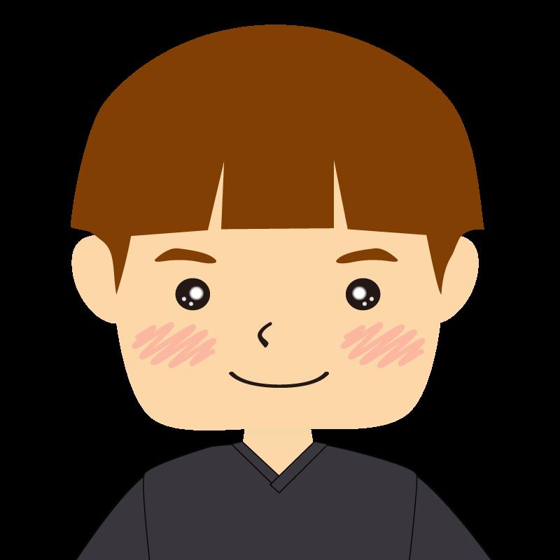 画像:パッツン前髪の男の子 茶髪 笑顔