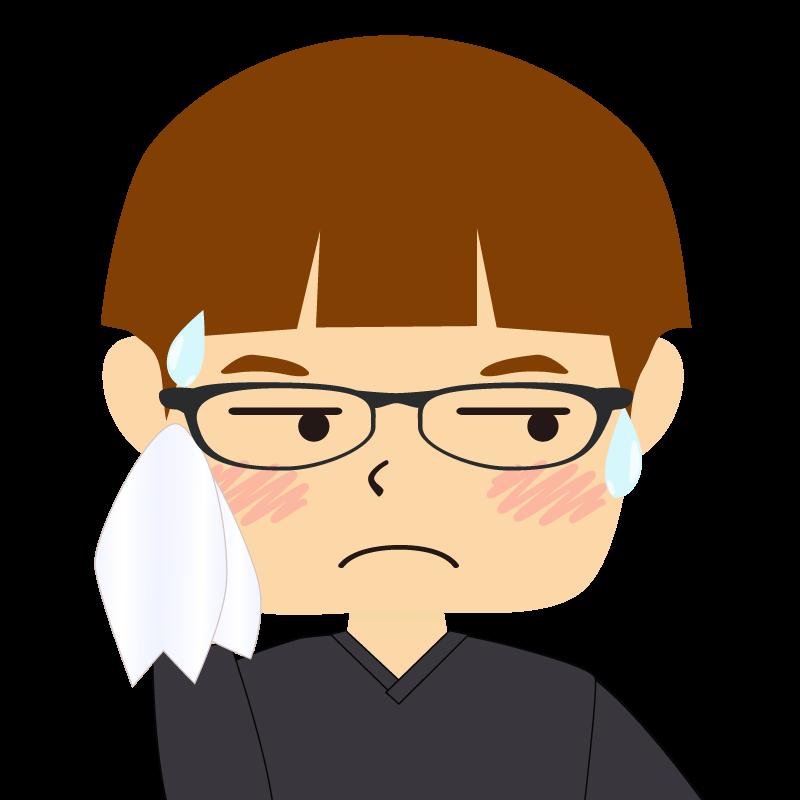 画像:パッツン前髪の男の子 茶髪 眼鏡 汗