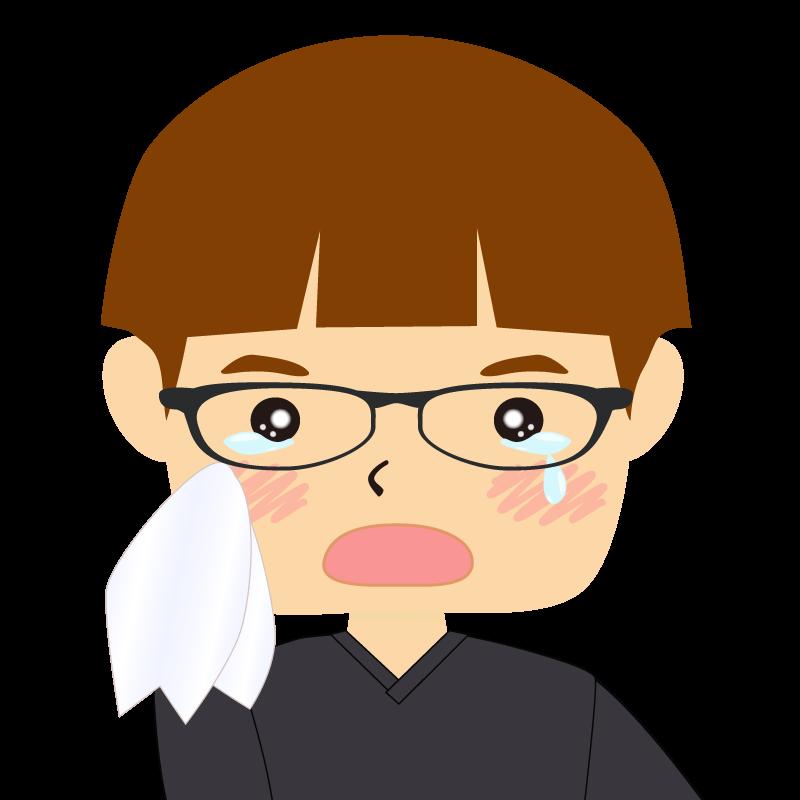 画像:パッツン前髪の男の子 茶髪 眼鏡 涙