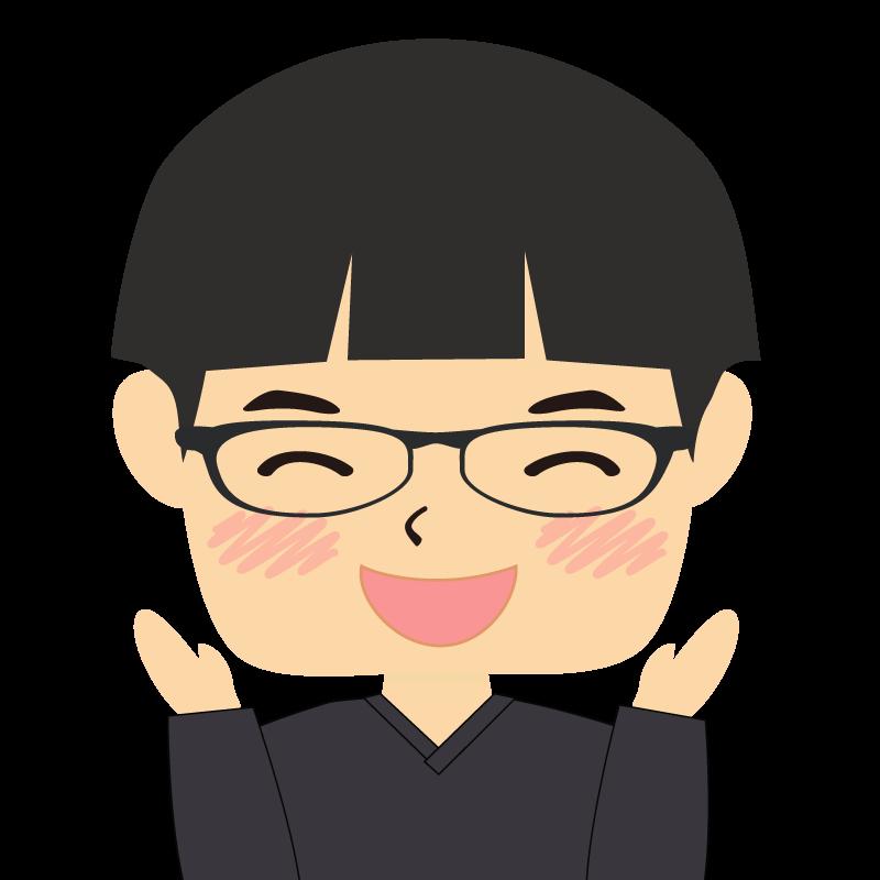 画像:パッツン前髪の男の子 眼鏡 喜び