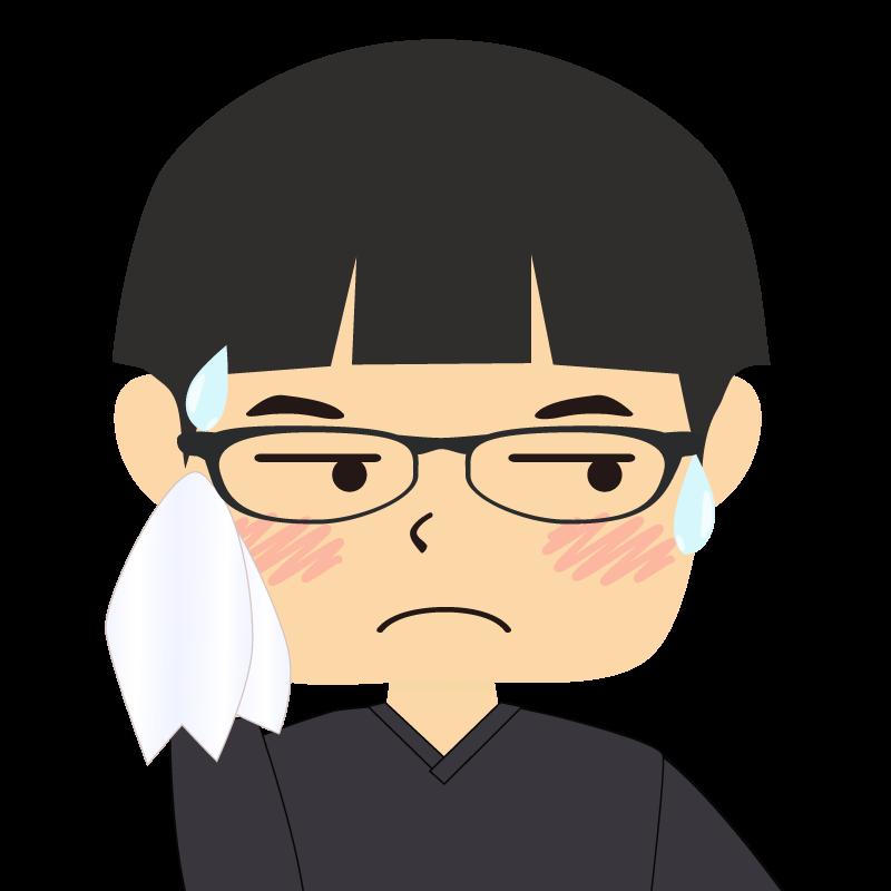 画像:パッツン前髪の男の子 眼鏡 汗