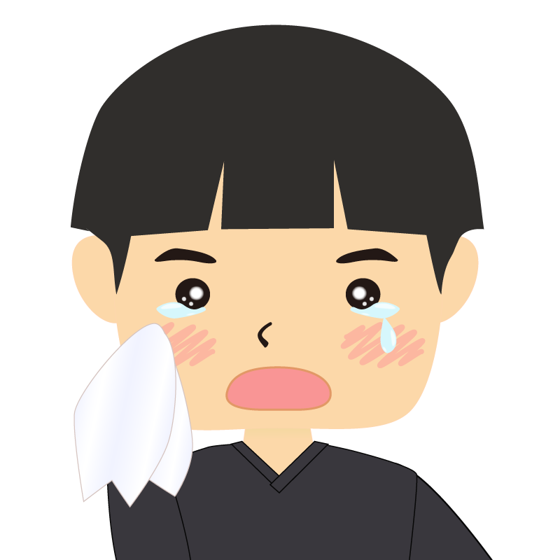 画像:パッツン前髪の男の子 涙