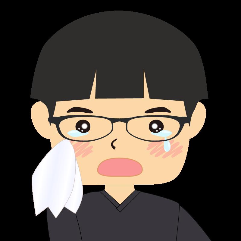 画像:パッツン前髪の男の子 眼鏡 涙