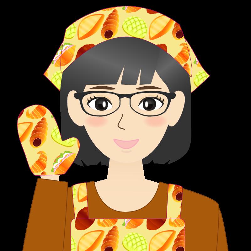 画像:セミロング・女性・主婦・エプロン姿 眼鏡 照れる