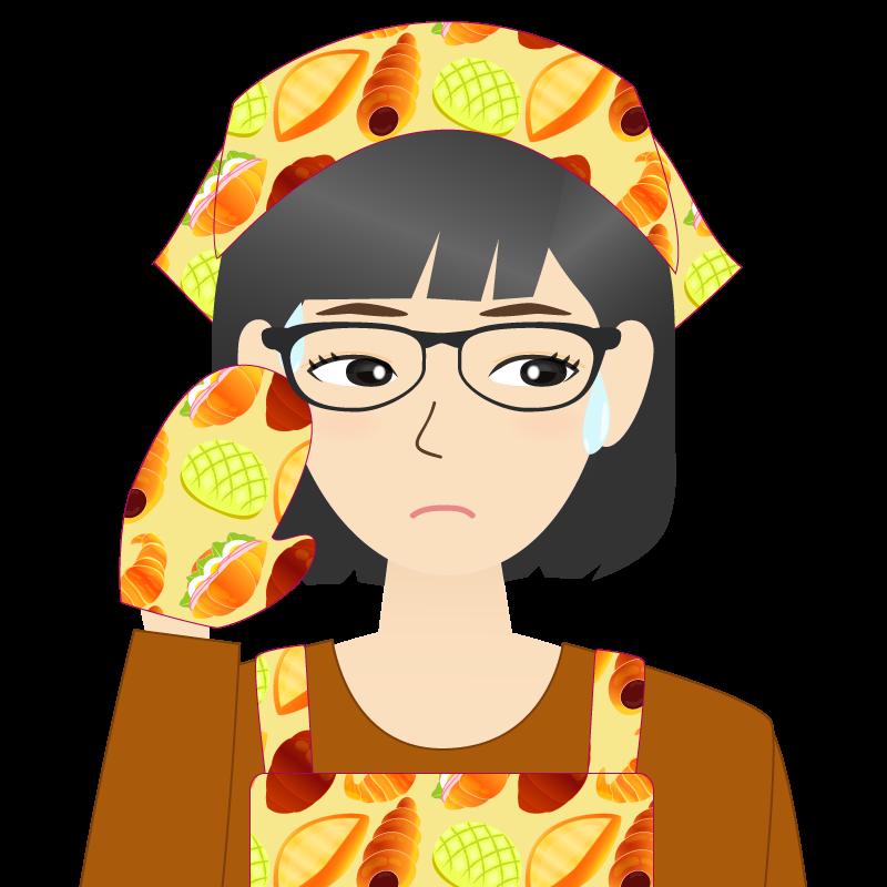 画像:セミロング・女性・主婦・エプロン姿 眼鏡 目線を外す