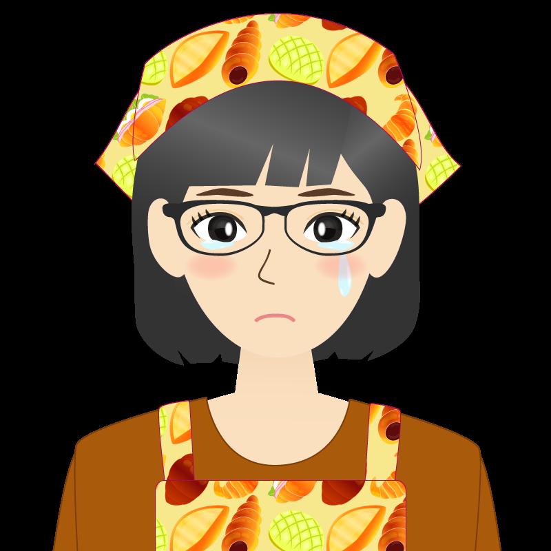 画像:セミロング・女性・主婦・エプロン姿 眼鏡 涙